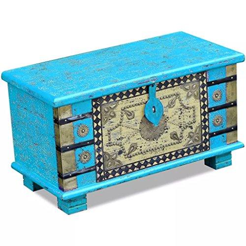 SHENGFENG cassapanca contenitore di legno di mango con chiusura a lucchetto blu vintage design 80x 40x 45cm
