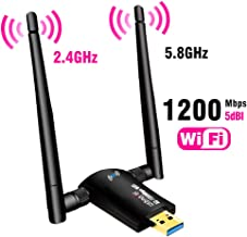USB WiFi Adapter 1200Mbps,USB 3.0 Wireless Network Adapter WiFi Dongle for PC Desktop Laptop with Dual Band 2.4GHz/300Mbps 5GHz/867Mbps,Support Windows10/8/8.1/7/Vista/XP/2000,Mac OS 10.6-10.14