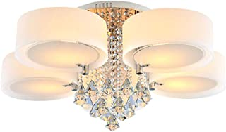 RANZIX Lámpara de techo LED E27 de cristal acrílico, lámpara de techo de cristal, luz RGB, con mando a distancia para pasillo, dormitorio, cocina, comedor, salón (5 luces)