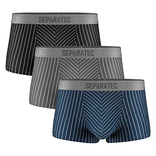 Separatec Herren Boxershorts atmungsaktive Männer Unterhose Trunks mit Eingriff Separate Beutel, 3er Pack (L, Kurze Beine: Mehrfarbig)