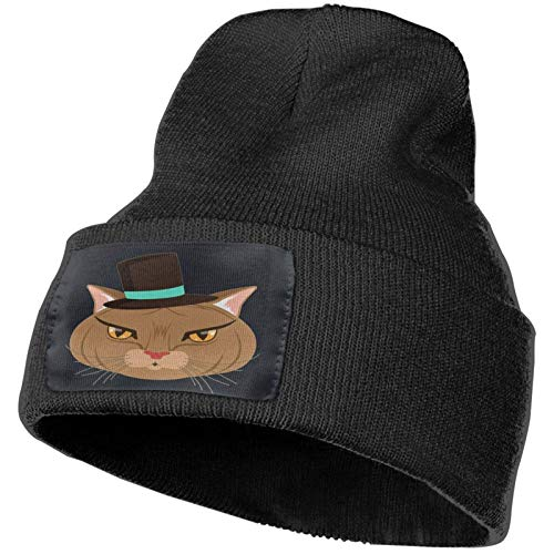 AEMAPE Gorro de punto divertido para fiestas de invierno con diseño de gato, gorro de punto suave para hombres y mujeres