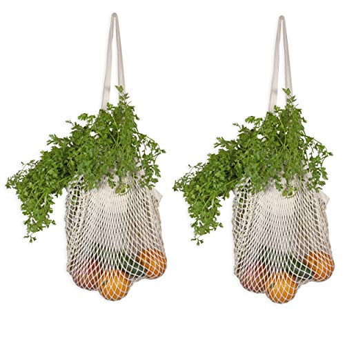 Organic Cotton French Market Tote - Best Net Shopping Bags – Reusable Fruit Hammock Bag - Organic Cotton Mesh Grocery Produce Bags with Handles - Sturdy & Stretchable Net Tote Bags (2 Bags)