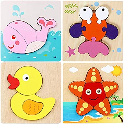 Boys/&Girls Educational Toys Gift Style B GRHOSE Wooden Animal Jigsaw Puzzles for Toddlers 1 2 3 4 5Years Old 4 Packs