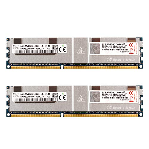 v-Color 128GB (2 x 64GB) Server Memory Ram Module Upgrade DDR3 1333MHz (PC3-10600) Load-Reduced DIMM with Heat Sink 1.35V CL9 8Rx4 (TLR364G13O49LK)
