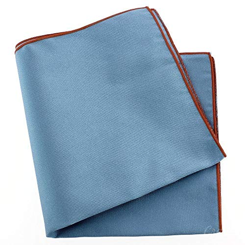 Tony & Paul - Pochette Soie, Tevere Bleu, Ourlet Orange