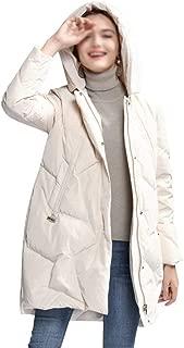 ZYDP Classic Hooded Leisure Plus Size Down Jacket Warm Coat (Color : Beige, Size : L)