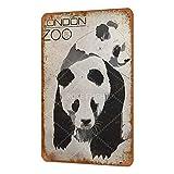 London Zoo Poster Cartel de Chapa de Metal Vintage, Estilo Shabby Chic, Cartel de Revista, decoración de Pared, 8 x 12 Pulgadas