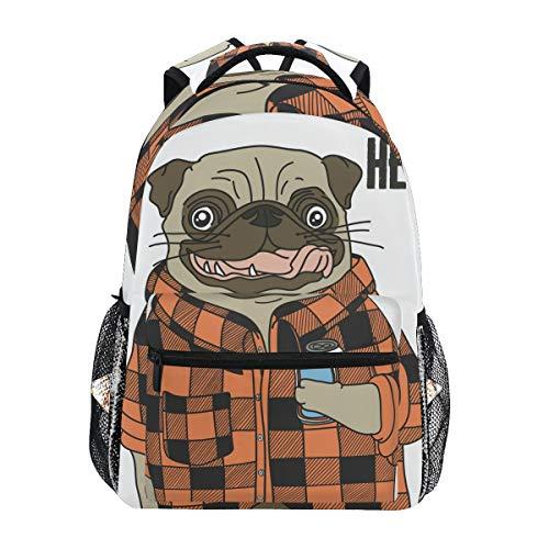 Backpack Fashion Laptop Daypack Cool Dog Pug Travel Backpack for Women Men Girl Boy Schoolbag College School Bag Canvas