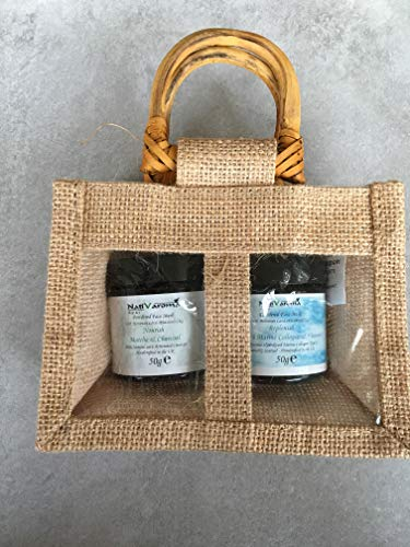 Puder Gesichtsmasken Geschenkset | Set aus zwei natürlichen veganen Puder Gesichtsmasken | Matcha & Aktivkohle | Marine Collage & Vitamin C