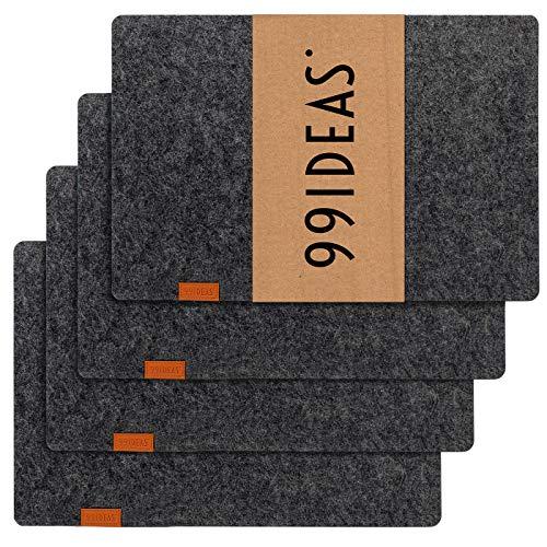 99IDEAS° - Tischsets aus Filz - Set 4 Stück, Elegante Platzsets in modernem Design, Anthrazit Grau, eckig (45 x 30 cm)