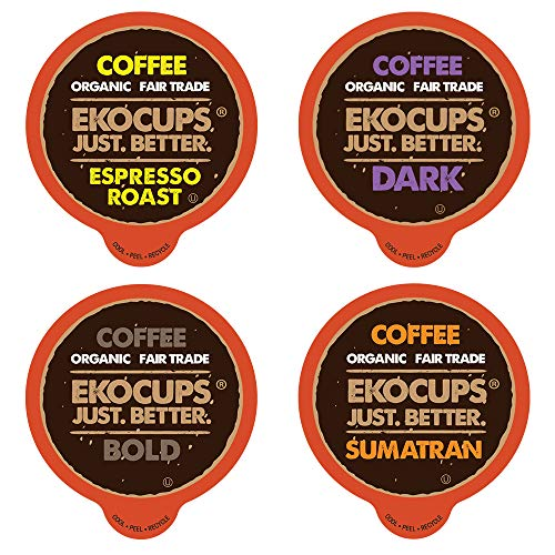 EKOCUPS Organic Hot or Iced Coffee Espresso Sampler for Keurig Single Serve K-Cup Brewers, 80 Count
