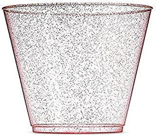 100 Rose Gold Plastic Glitter Cups - 9 Oz Clear Old Fashioned Tumblers -Rose Gold Glitter Cups Disposable Wedding Event Cups