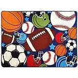 Kids Fun Sport Play Rugs Alfombra de sala de juegos para dormitorio, niños, niñas, niños, alfombra, pelotas, estampado con pelota de fútbol, baloncesto, fútbol, pelota de tenis,Square carpet,100x130cm