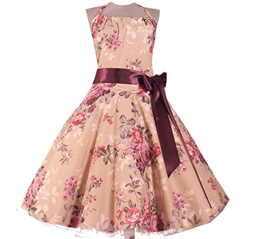 50er Rockabilly TanzKleid Petticoat Übergröße Big Size Gr. 32,34,36,38,40,42,44,46,48,50,52,54,56,58,60,62, Braun Altrosa, 3XL