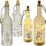 alles-meine.de GmbH 2 Stück _ Glas - LICHT Dekoflaschen - 10 Stück LED - Weihnachten & Winter - Lichtflaschen / Flaschen mit Licht - 30 cm - Batterie betrieben - warmweiß - Flasc..