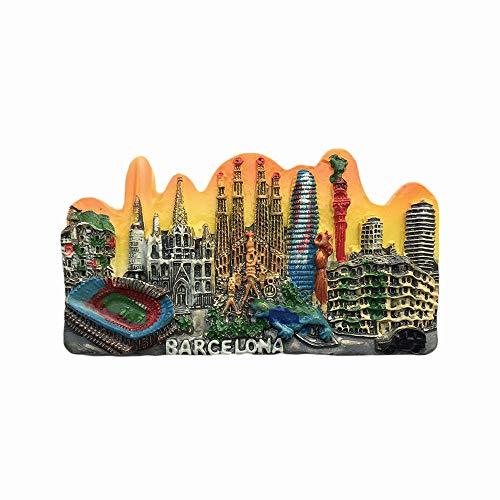 Imán para nevera 3D Barcelona España Landmark de resina, recuerdos, hecho a mano para decoración del hogar y la cocina, regalo de colección de imanes