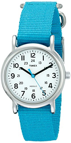 Timex Women's T2N836 Weekender Blue Nylon Slip-Thru Strap Watch