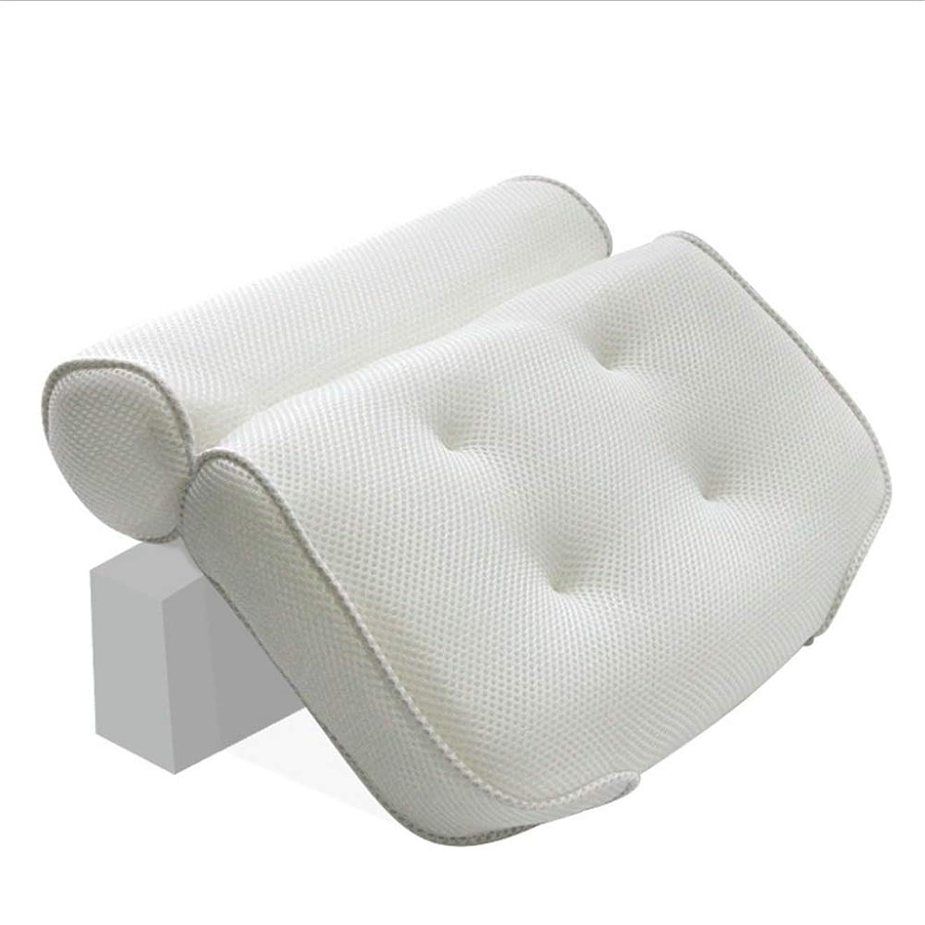 聴覚破裂麺浴槽枕 ソフトノンスリップ厚い任意のスパ用浴槽のヘッドレスト首とランバーサポートのための適切な 滑り止めバスタブスパ枕 (色 : 2 pack White)