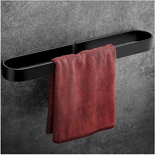 Angou Toallero toallero sin taladrar, anillo de toalla, montaje en pared, accesorio de baño, aluminio, estante autoadhesivo para zapatos, soporte para tapa de olla (negro, 40 cm)