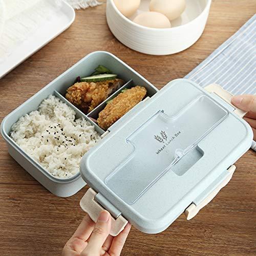 Kitchnexus 3-Fächer Frühstücksbox Lunchbox Weizenstroh Mikrowelle Bento Box Picknick Aufbewahrung Behälter für Kinder Erwachsener
