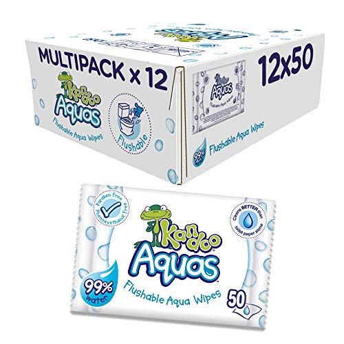Kandoo Aquas Flushable Aqua Toallitas, Pack de 12