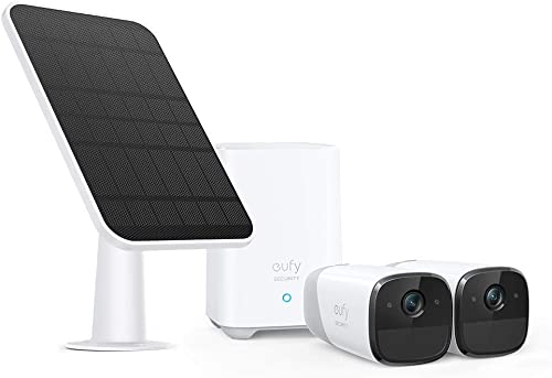 discount eufy Security, eufyCam 2 2-Cam Kit & Certified eufyCam Solar Panel Bundle, 1080p HD, No Monthly Fee, Continuous Power Supply, sale sale 2.6W Solar Panel outlet sale
