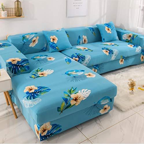 Sofa Cover Slipcover Sets Gooi Bloem Gedrukt Blauwe Sofa Cover Elastische Meubilair Protector Voor Woonkamer Slipcover L Gevormde Hoekbank Cover