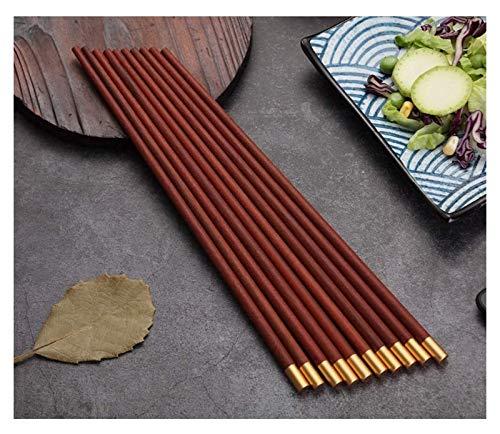 WANGQW Chopstick Reutilizable Set Lavavajillas-Caja fuert 10 Pares de Palillos de Madera Maciza sin Pintura de Pollo de Pollo Madera bendición Redonda, Longitud 25 cm Palillos - sándalo Rojo