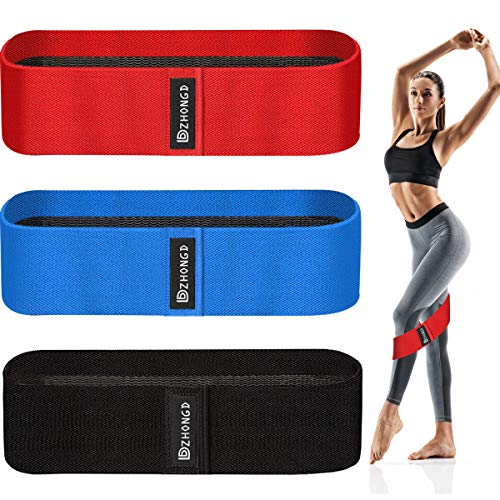 DZHONGD Resistance Bands for Women Legs Butt, Fabric Non-Slip Non-Rolling Loop Hip Booty Glutes Workout Exercise Bands