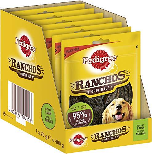 Pedigree Ranchos Originals – Weicher Hundesnack mit Lamm – Schonend getrocknet – Ideal für kleine und große Hunde – 7 x 70g