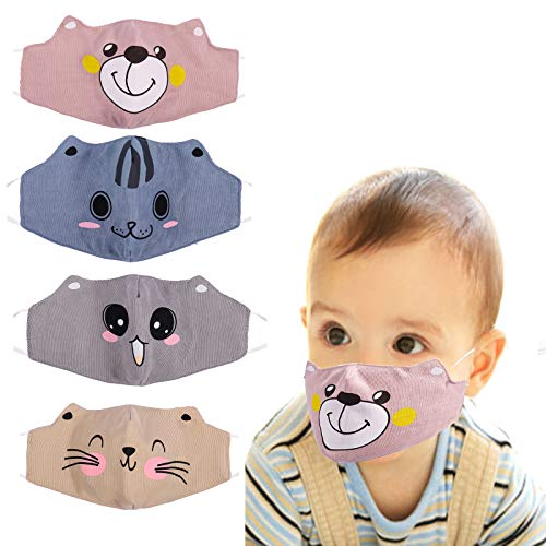 YUESUO Kids Face Cute Mask Reusable Washable, Adjustable Anime Childrens for Cotton Boys Smiley Toddler Girls Baby Horse Breathable Cat Dog Unicorn Cloth Size Best Ear Loops Kawaii Mouth Bear