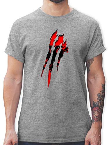 Länder - Albanien Krallenspuren - XL - Grau meliert - Kosovo Trikot Herren - L190 - Tshirt Herren und Männer T-Shirts