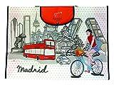 Nadal Mochila Fiesta Souvenir Bolsa Compra Madrid Bicicleta, Fibra, Multicolor, 55 x 40 x 14 cm