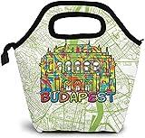 Budapest Travel Art Map Bolsa de almuerzo aislada Caja Bento personalizada Enfriador de picnic Bolso portátil Bolsa de almuerzo para mujeres, niñas, hombres, niños