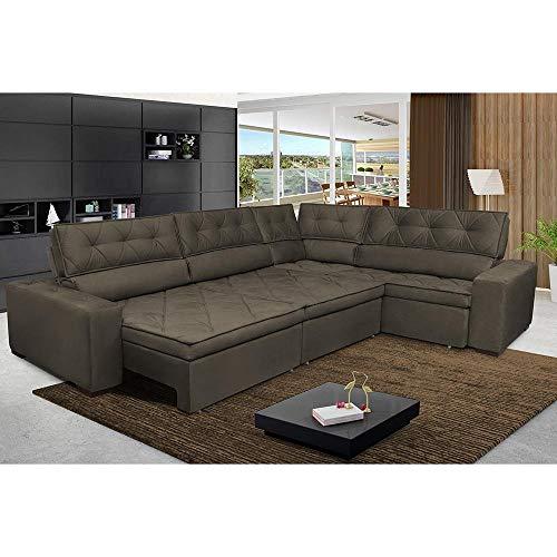 Sofa de Canto Retrátil e Reclinável com Molas Cama Inbox Austin 3,65x2,54 ou 2,54x3,65 Suede Velusoft Café