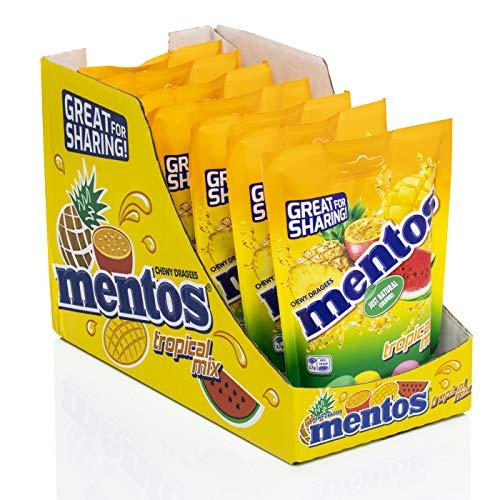 Mentos Mix Frutas Tropical, Caramelo Masticable con Zumo de Frutas - 7 bolsas de 160 gr. (Total 1.120 gr.) 1120 g