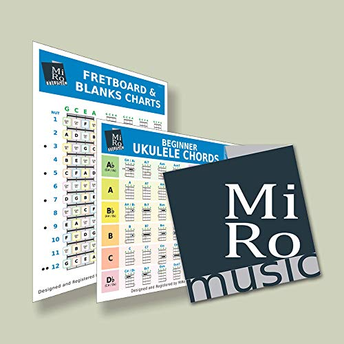 A5 Ukulele chord Card, Beginner to Advanced, 48 chords inc major, minor, 7th, Double Sided