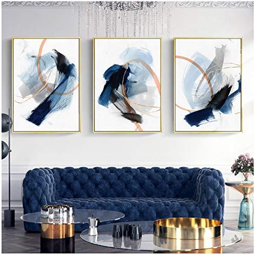 QIAOZ Arte de Pared, Dibujo de Tinta Azul Abstracto Moderno, Lienzo Textil Cepillado, Pintura, póster, Imagen Impresa, decoración del hogar, sin Marco