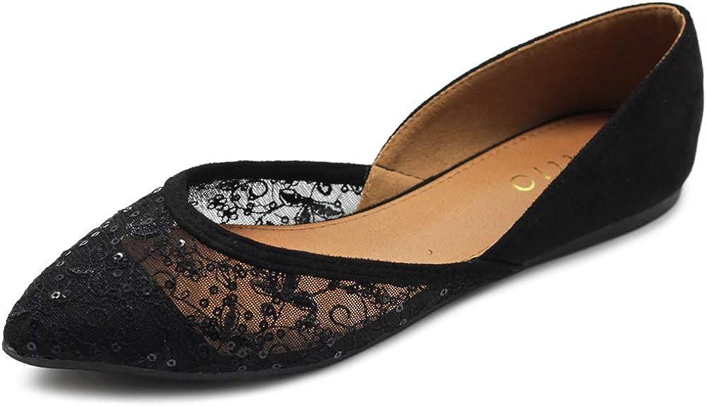 Ollio Women's sale Shoes Faux Suede outlet Lace Mesh Poin Floral Breathables