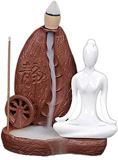 お香バーナークリエイティブホームインテリアセラミックヨガガールセンサー逆流香コーンバーナースティックホルダーギフトお香ホルダー (Color : Brown, サイズ : 3.77*2.75*3.93 inches)