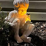 Auralto A Kid with Solar Fireflies Garden Statue Resin Jar Boy Girl Statue Whimsical Flowerbed Yard Outdoor Sculpture Decor