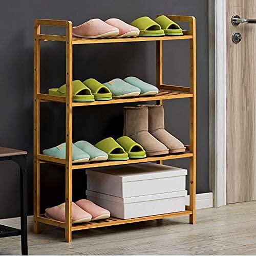 HHTX Zapatero de bambú, Estante de Almacenamiento Ajustable para Zapatos de 4 Niveles, Zapatero Independiente Que Ahorra Espacio para armarios, Organizador de Zapatos de Entrada, Color Madera 68x