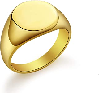 Valily Polished Round Signet Rings Stainless Steel/Gold/Black Customized Gift, Rings for Engraving Size 5-14