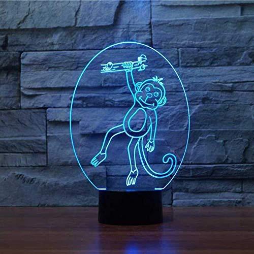 3D Luz nocturna para niños LED Luz nocturna monkey para sala de estar, cama, bar, regalo juguetes para niños y niñas Con interfaz USB, cambio de color colorido
