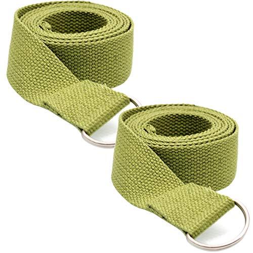 Tavie 2X Correa De Cinturón De Yoga para Ejercicio Físico Flexibilidad Ejercicio Estiramiento Correas De Pilates Correas, Poses De Sujeción, Fisioterapia, 183cm x 3.8cm VerdeOScuro