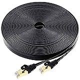 Cat7 Ethernet Cable 100 FT Black, BUSOHE Cat-7 Long Flat RJ45 Computer Internet