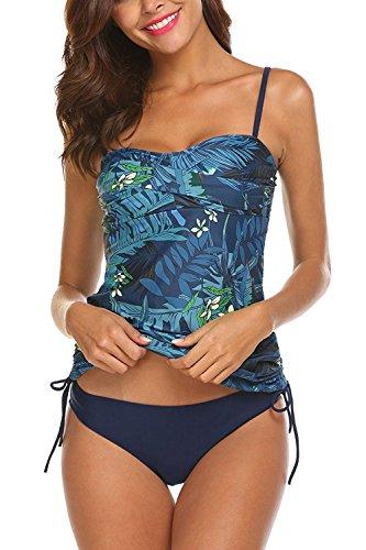 AYEEBOOY Bañador de Dos Piezas para Mujer Tamaño Grande Tankini Trajes de baño Bikini Set(3azulhs,L)