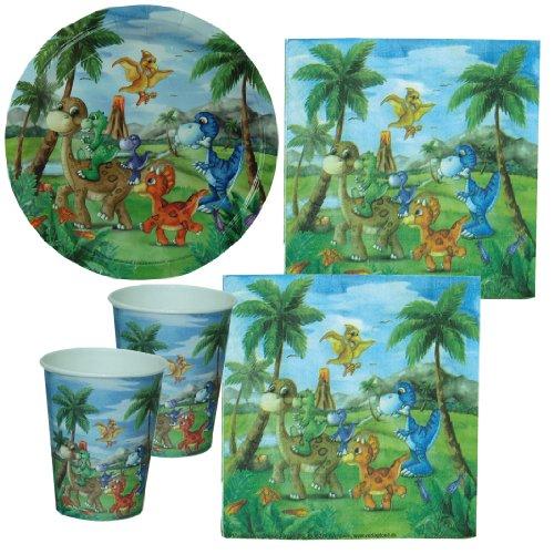 Partyset Dinosaurier, Dinoparty, 44-tlg., Kindergeburtstag mit 12 Kindern; 12 Papp-Teller, 12 Papp-Bechern, 20 Servietten, Urzeit fest, T-Rex Kinderfest