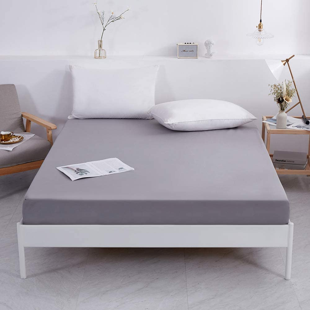 Grey,Queen Best Season Mattress Protector Waterproof-Fitted Sheet Sylte with 14-18 inch Deep Pocket-Hypoallergenic,Noiseless,Breathable