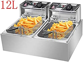 12L 5000W MAX Deep Fryer with 2 Baskets, Stainless Steel Dual Basket Electric Fryer, Countertop Food Cooking & French Fries Fryer for Chicken Chips Home Kitchen Restaurant (a-12L) (a)